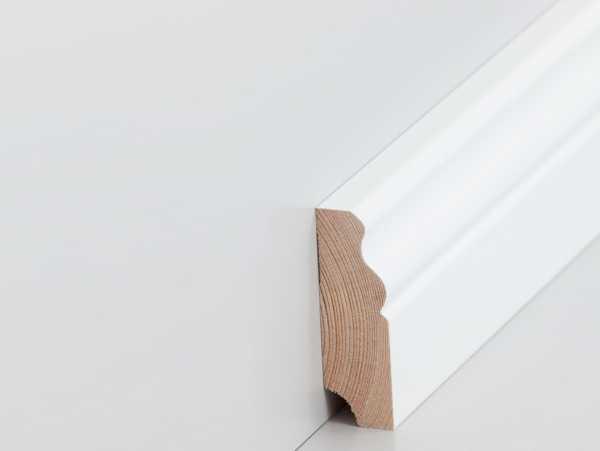 Südbrock Hamburger Leisten 19x60mm | Echtholz Fußleisten weiß lackiert
